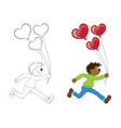 a cartoon african boy running with balloons in vector image vector image