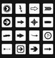 arrow icons set squares vector image vector image