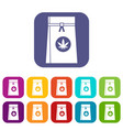 bag with cannabis icons set vector image vector image
