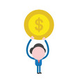 businessman character holding up dollar money coin vector image