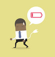 businessman feeling tired and low power battery vector image
