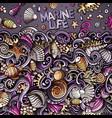 cartoon hand-drawn doodles underwater life vector image vector image