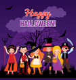 children in costume monsters of halloween vector image vector image
