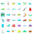 clean water icons set cartoon style vector image vector image