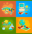 collection of geography and science tools vector image