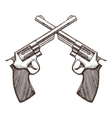 Crossed Pistols Hand Draw Sketch vector image