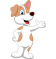 Cute dog cartoon waving hand vector image vector image