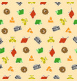 cute kids pattern with geometric animals stickers vector image vector image