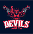 devil mascot character logo with pair pistols vector image vector image