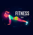 fitness girl sport and ads logo shining design vector image