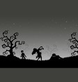halloween night background with zombies in the gra vector image