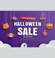 halloween sale promotion template with paper art vector image vector image