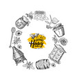 hand drawn honey elements in circle form vector image