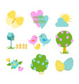 happy easter set with cute elements for greeting vector image
