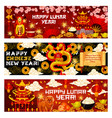 happy lunar year or chinese spring festival banner vector image vector image