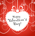 Happy Valentine day greeting card with white heart vector image vector image