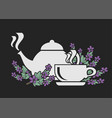 icon set for tea with thyme healthy tea brewing vector image vector image