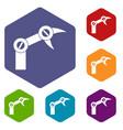 industry robot icons set hexagon vector image vector image