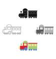 locomotive cartoonblack icon for vector image
