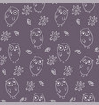 lovely monochrome seamless pattern with cute owls vector image vector image