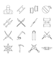 Ninja tools icons set outline style vector image vector image