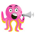 octopus with a speakerphone on white background vector image vector image
