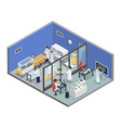 pharmaceutical research production isometric vector image vector image