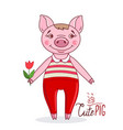 pig in cartoon style holding a tulip vector image