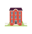 red brick city house with green grass stairs vector image vector image