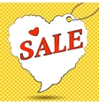 Sale label in form of heart in pop art style vector image