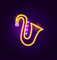 saxophone neon sign vector image