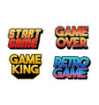 set collection classic retro game phrases vector image vector image