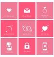 set flat design romantic icons for web vector image