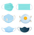 set surgical protective masks and respirators vector image vector image