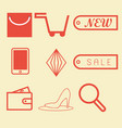 shopping icon on red vector image vector image
