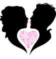 Silhouette of boy and girl in love vector image