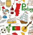 sketch portugal seamless pattern vector image vector image