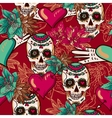 Skull Hearts and Flowers Seamless Background vector image vector image