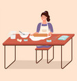 small girl cooking in kitchen dough making kid vector image
