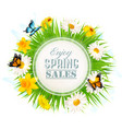 spring sale background with a green grass and vector image