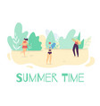 summer active time outdoors flat cartoon banner vector image