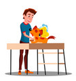 teen guy washes the dog isolated vector image