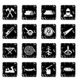 Timber industry set icons grunge style vector image vector image