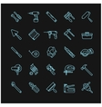 tools icons on a black background vector image vector image