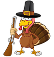 Turkey Mascot Holding A Gun vector image vector image