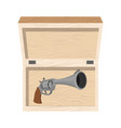 vintage gun in wooden box premium retro weapons vector image