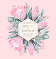 vintage wedding card with protea and greenery vector image vector image