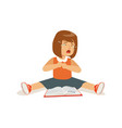 weeping sad girl character sitting on the floor vector image vector image