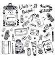 what is my backpack cute doodle hipster things set vector image vector image