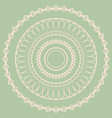 white simple mandala on a green background vector image vector image